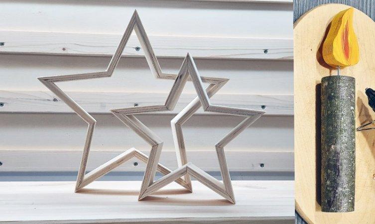 Links die neuen Holzsterne, rechts eine von über zehn Holzkerzen