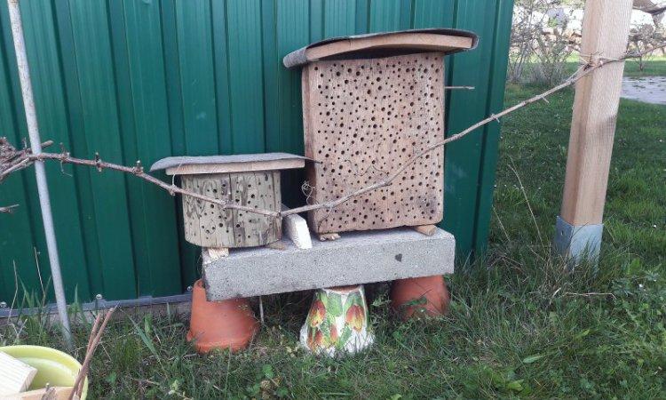 Meine zwei Test-Hotels für Insekten stehen an ihrem Platz im Garten und warten auf neue Bewohner