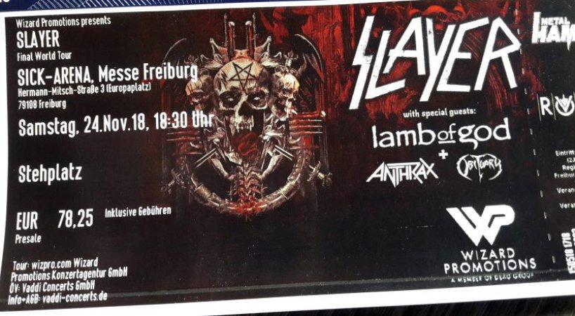 Die Karte für Slayer, Obituary, Lamb of God und Anthrax in Freiburg ist da ;-)